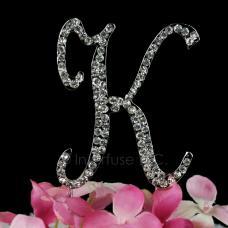 Cake Topper Letter K Monogram - 3 Inch Rhinestone
