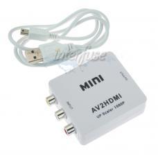 Composite AV CVBS 3RCA to HDMI Video Converter Adapter 720P 1080P Upscaler