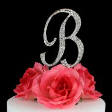 Letter B Cake Topper Monogram - 5 Inch Silver Rhinestone