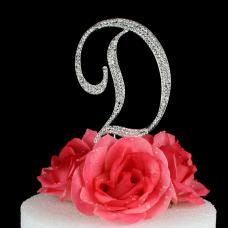 Letter D Cake Topper Monogram - 5 Inch Silver Rhinestone