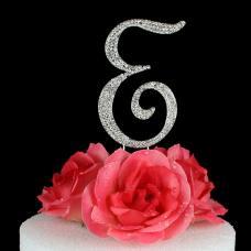 Letter E Cake Topper Monogram - 5 Inch Silver Rhinestone