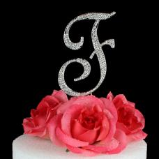 Letter F Cake Topper Monogram - 5 Inch Silver Rhinestone
