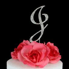 Letter J Cake Topper Monogram - 5 Inch Silver Rhinestone