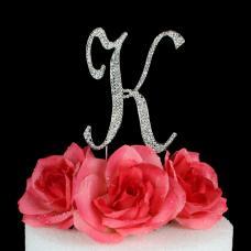 Letter K Cake Topper Monogram - 5 Inch Silver Rhinestone