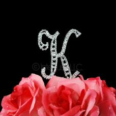Letter K Monogram Cake Topper - Small 3-Inch Crystal Rhinestone