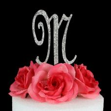 Letter M Cake Topper Monogram - 5 Inch Silver Rhinestone