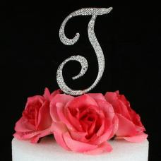 Letter T Cake Topper Monogram - 5 Inch Silver Rhinestone