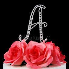 Monogram Cake Topper Letter A - Elegant Crystal Rhinestone