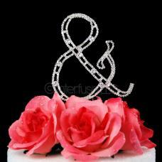 Monogram Cake Topper Letter & Ampersand - Elegant Crystal Rhinestone