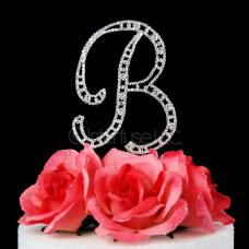 Monogram Cake Topper Letter B - Elegant Crystal Rhinestone