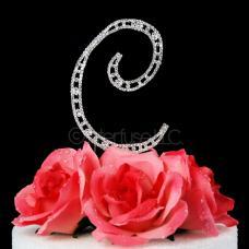 Monogram Cake Topper Letter C - Elegant Crystal Rhinestone