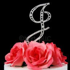 Monogram Cake Topper Letter J - Elegant Crystal Rhinestone