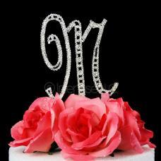 Monogram Cake Topper Letter M - Elegant Crystal Rhinestone
