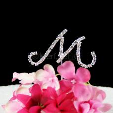 Monogram M Cake Topper Letter - Small 2-Inch Crystal Rhinestone