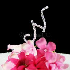 Monogram N Cake Topper Letter - Small 2-Inch Crystal Rhinestone