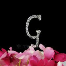 Rhinestone G Cake Topper - 2 Inch Monogram Letter