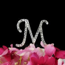 Rhinestone M Cake Topper - 2 Inch Monogram Letter