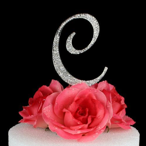 Letter C Cake Topper Monogram - 5 Inch Silver Rhinestone