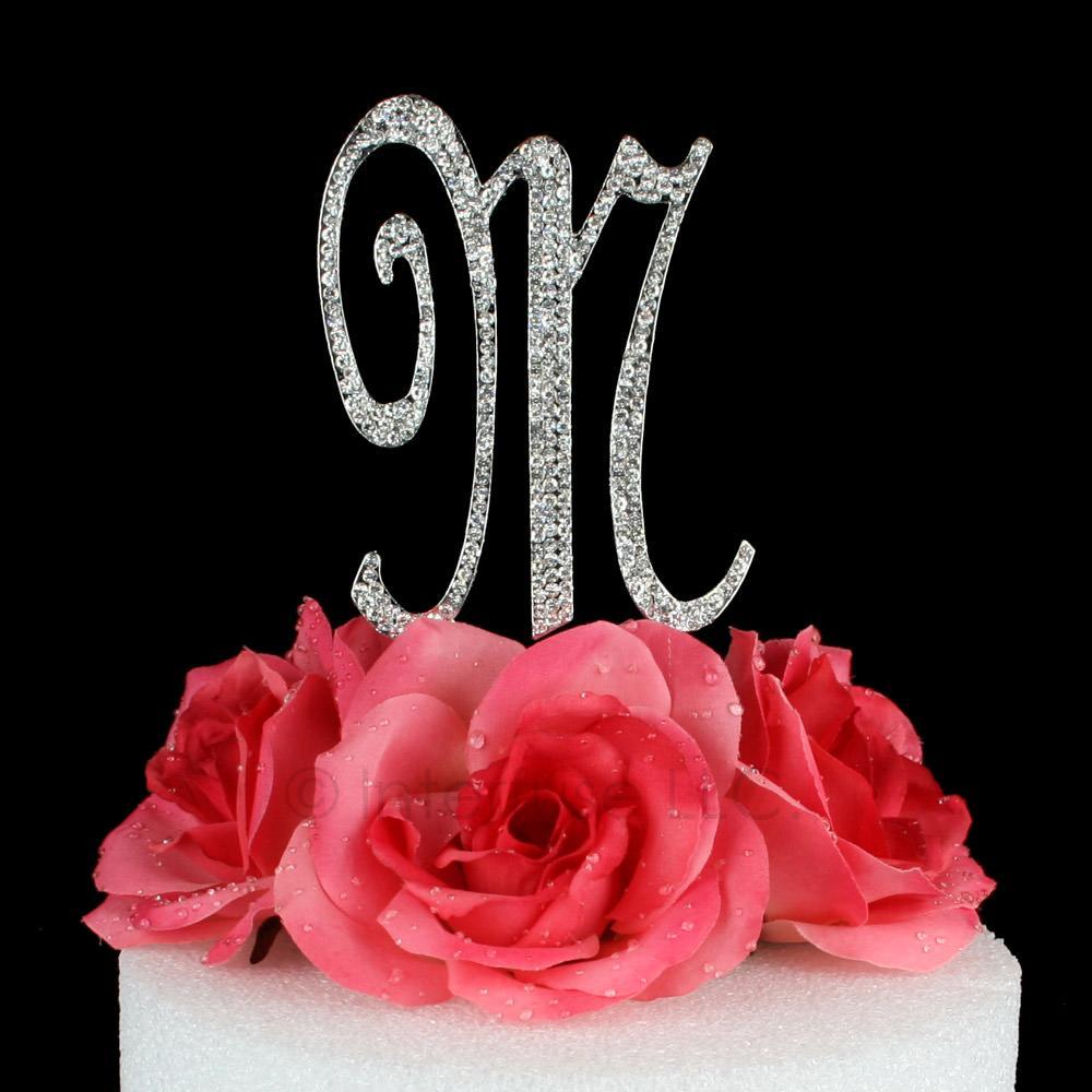 letter m cake topper monogram 5 inch silver rhinestone