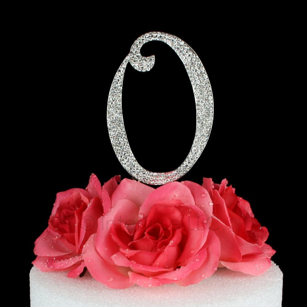 letter o cake topper monogram 5 inch silver rhinestone