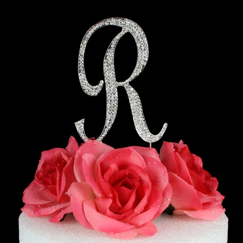 letter r cake topper monogram 5 inch silver rhinestone