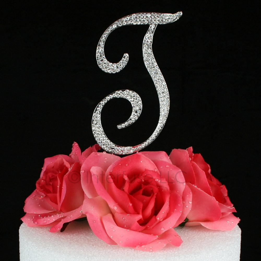 letter t cake topper monogram 5 inch silver rhinestone