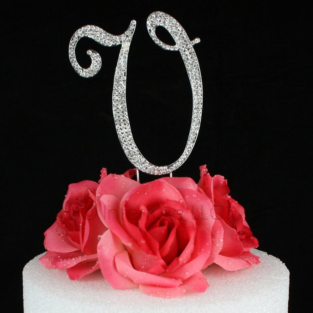 letter v cake topper monogram 5 inch silver rhinestone
